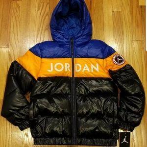 Air Jordan Boys Puffer Color-Blocked Jacket Sz L